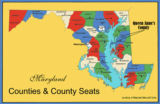 Map of Maryland Showing Location of Queen Anne's County