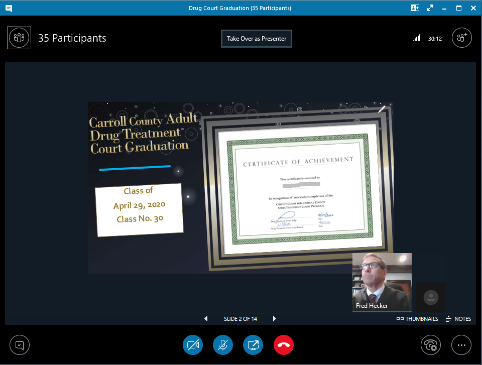 Carroll County Circuit Court Adult Drug Treatment Virtual Graduation photo